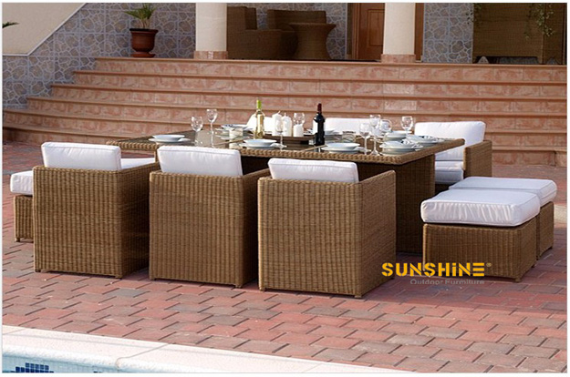 Rattan dining set fco 2067 muebles de rat n moderno for Muebles de jardin de rattan