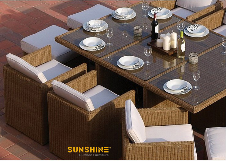 Rectangle rattan dining sets muebles de rat n moderno for Muebles de exterior de rattan